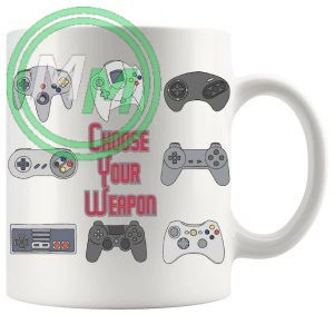 choose your weapon gaming console novelty mug