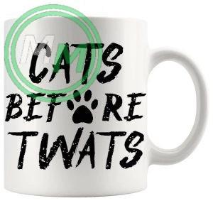 cats before twats novelty mug