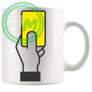 football yellow card novelty mug