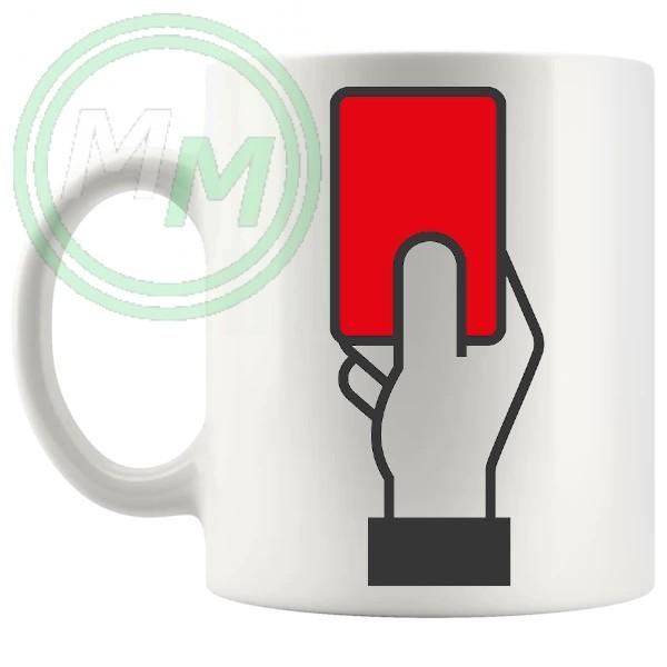 football red card novelty mug