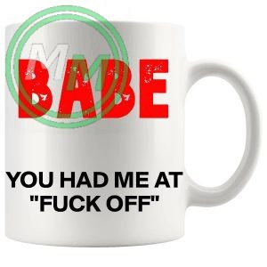 babe you had me at fuck off novelty mug