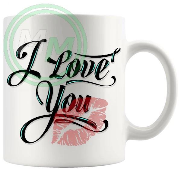 i love you kiss novelty mug
