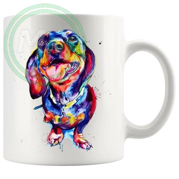 dPainted Dog Style No4 Dachshund Novelty Mugog06 Artistic Novelty Mug