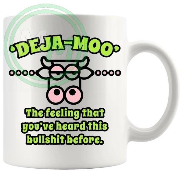 deja moo novelty mug green