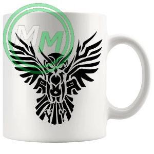 Tribal Owl Design Novelty Mug In Black