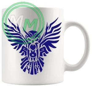 Tribal Owl Design Novelty Mug In Blue