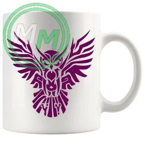 Tribal Owl Design Novelty Mug In Dark Pink