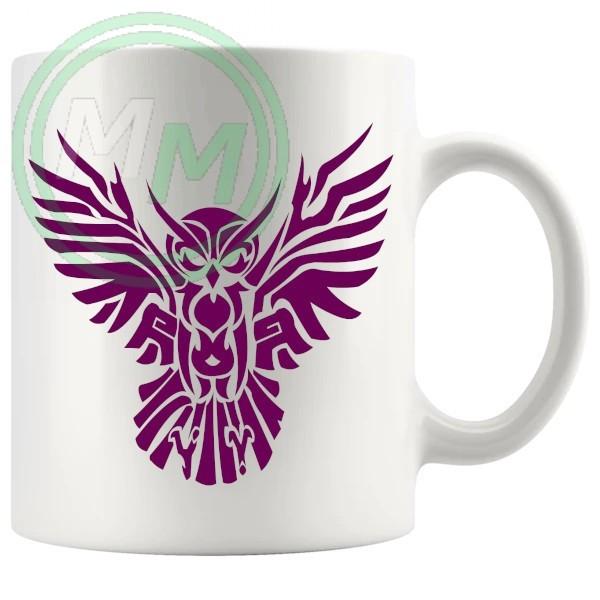 Tribal Owl Design Novelty Mug In Dark Purple