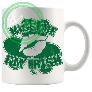 kiss me im irish lips and shamrock mug