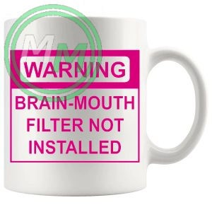warning brain mouth filter not installed pink mug