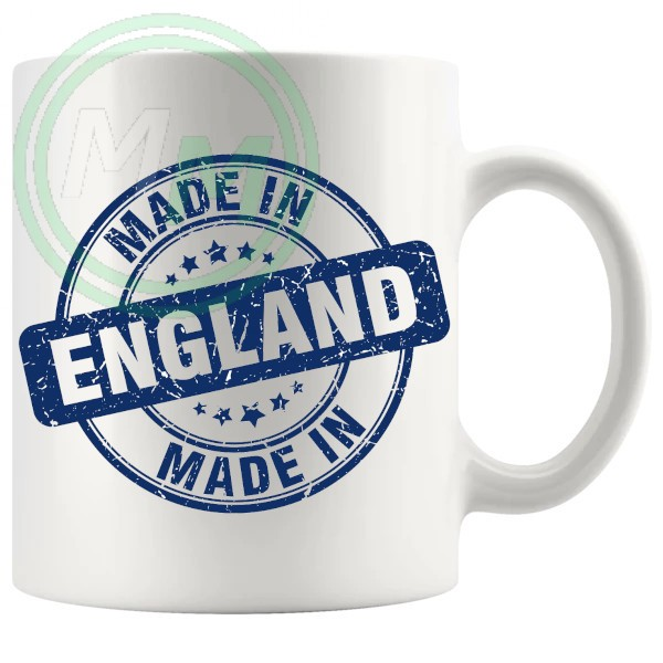 made in england stamp blue