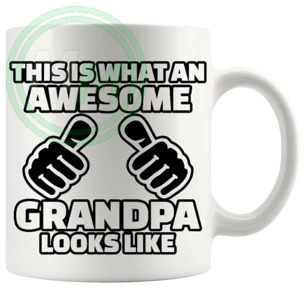 awesome grandpa black mug