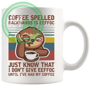 coffe spelled backwards mug