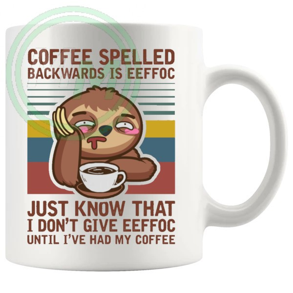 coffe spelled backwards mug