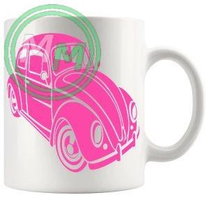 vw beetle mug pink
