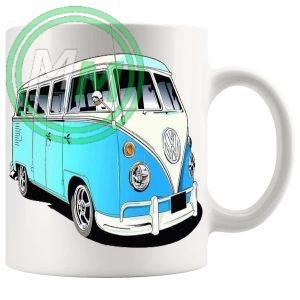 vw camper van mug blue