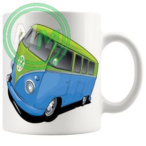 vw camper van mug blue green