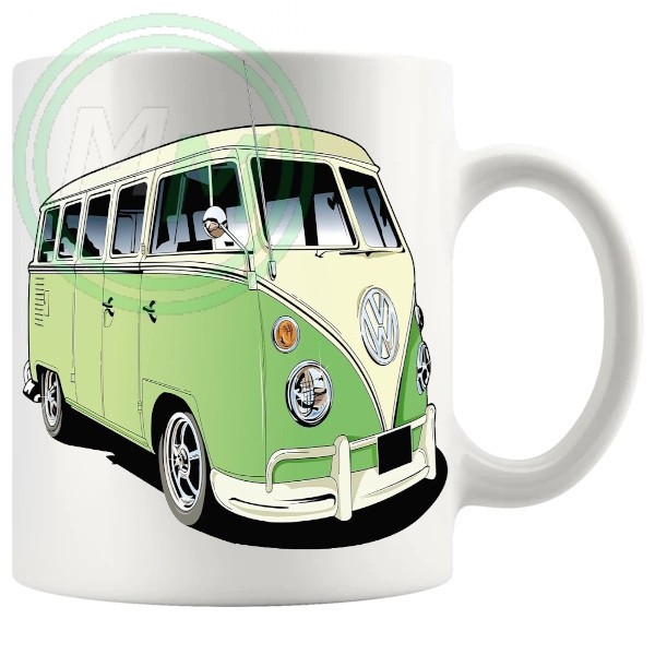 vw camper van mug green 2