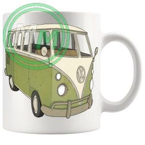 vw camper van mug green