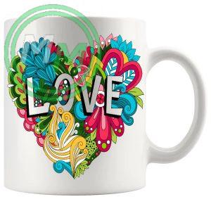 Love Floral Heart Mug