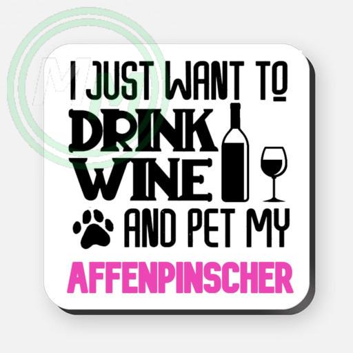 pet my affenpinscher coaster pink