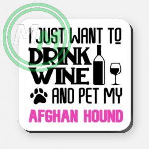 pet my afghan hound coaster pink