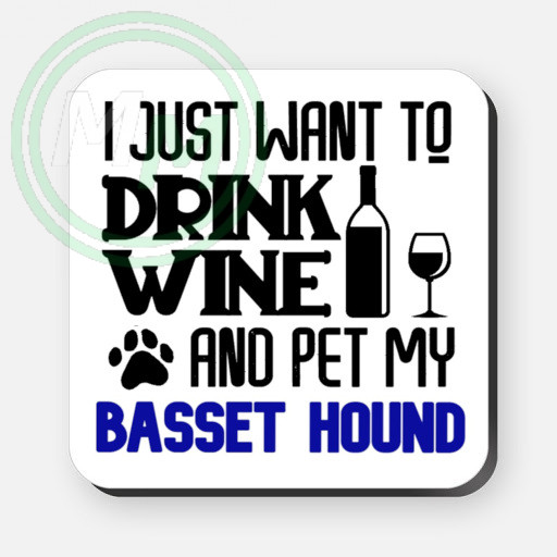 pet my basset hound coaster blue