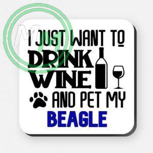 pet my beagle coaster blue
