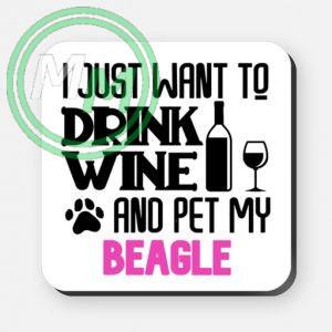 pet my beagle coaster pink