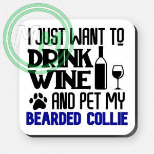 pet my bearded collie coaster blue
