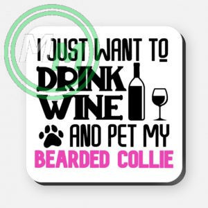 pet my bearded collie coaster pink
