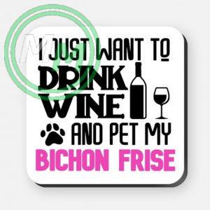 pet my bichon frise coaster pink