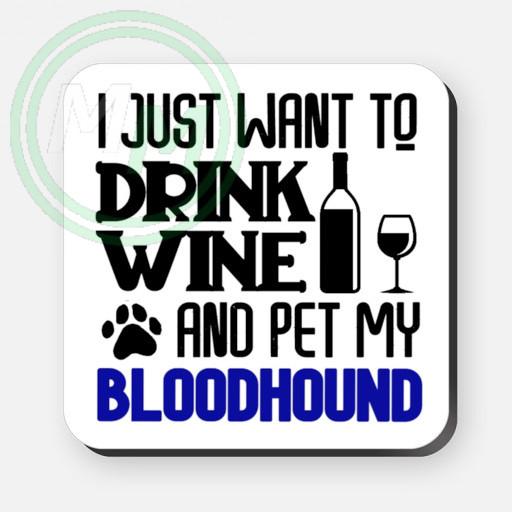 pet my bloodhound coaster blue