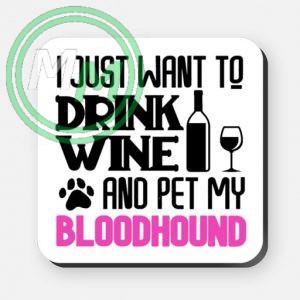 pet my bloodhound coaster pink