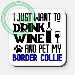 pet my border collie coaster blue
