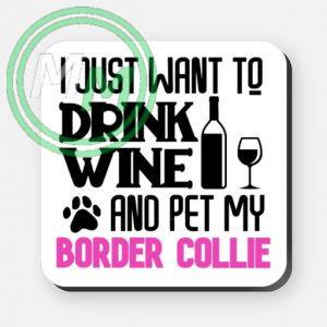 pet my border collie coaster pink