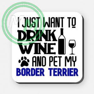 pet my border terrier coaster blue