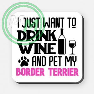 pet my border terrier coaster pink
