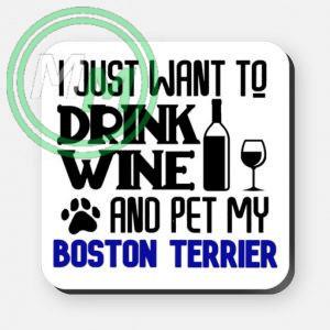 pet my boston terrier coaster blue