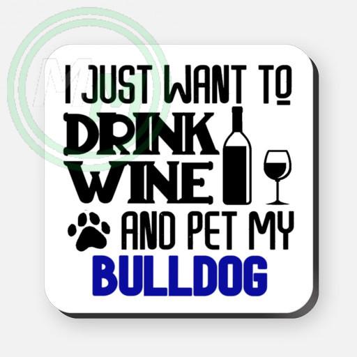 pet my bulldog coaster blue