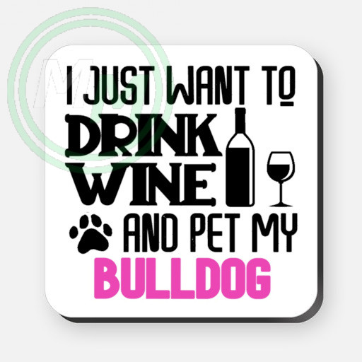 pet my bulldog coaster pink