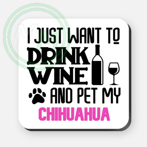 pet my chihuahua coaster pink