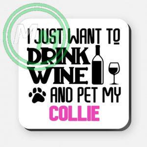 pet my collie coaster pink