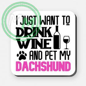 pet my dachshund coaster pink