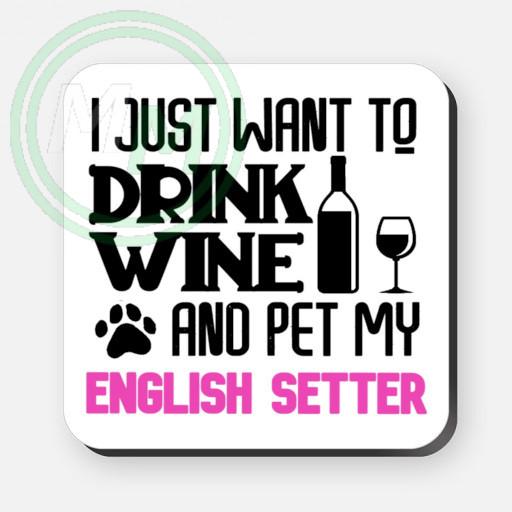 pet my english setter coaster pink