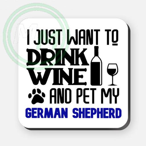 pet my german shepherd coaster blue