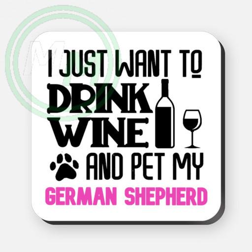 pet my german shepherd coaster pink