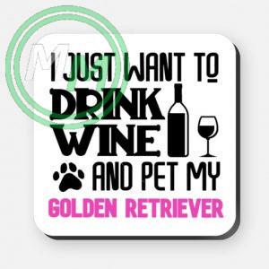 pet my golden retriever coaster pink