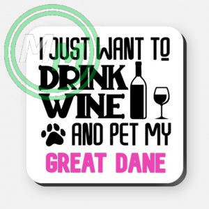 pet my great dane coaster pink
