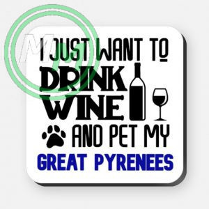 pet my great pyrenees coaster blue